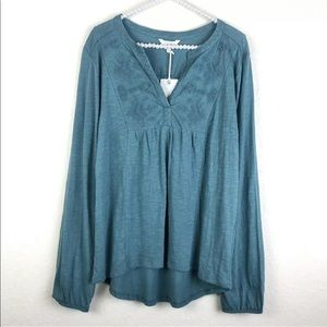 [Lucky Brand] NWT Green Embroidered Peasant Top